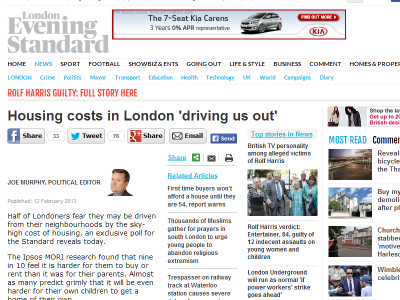 London Evening Standard – House Prices in London