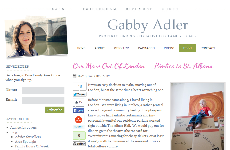 Gabby Alder Online – moving from Pimlico to St Albans